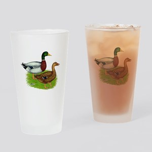 Mallard Ducks Drinking Glass