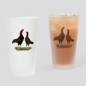 Aseel Black Red Chickens Drinking Glass