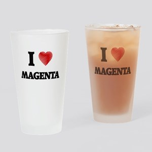 I Love Magenta Drinking Glass