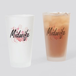 Midwife Artistic Job Design with Fl Drinking Glass