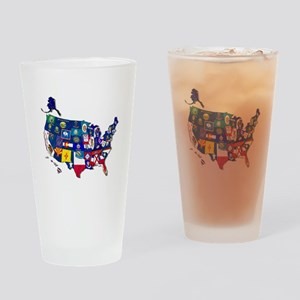 USA State Flags Drinking Glass