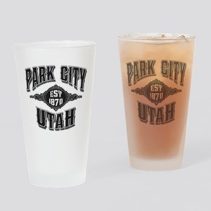 Park City Black Silver Drinking Glass