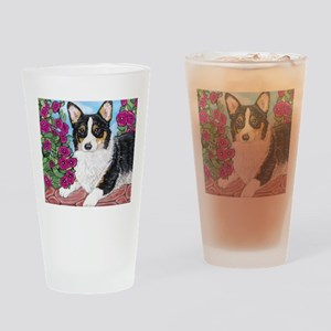 Corgi with Flowers Drinking Glass