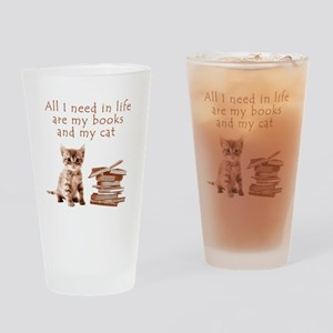 Cats and books Drinking Glass