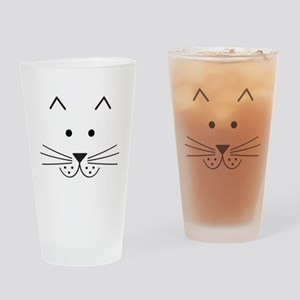 Cartoon Cat Face Drinking Glass