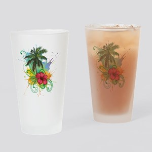 Tree and Flower Painting Drinking Glass