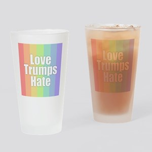 Love Trumps Hate - Rainbow Drinking Glass