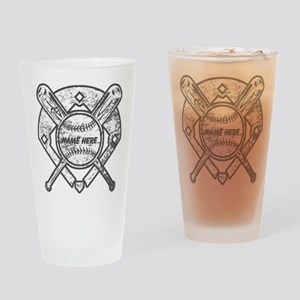 Personalized Ball Bats Diamond Drinking Glass