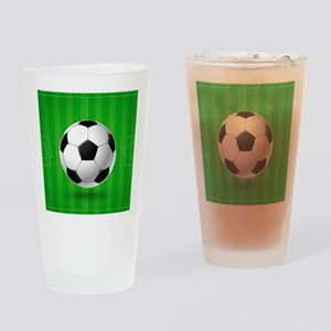 Football Ball And Field Drinking Glass