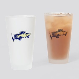 Snow Plow Truck Woodcut Drinking Glass