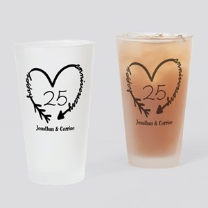 Custom Anniversary Doodle Heart Drinking Glass
