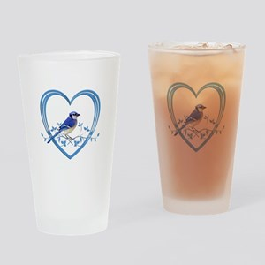 Blue Jay in Heart Drinking Glass