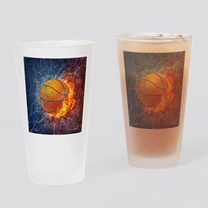Flaming Basketball Ball Splash Drinking Glass