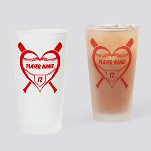 Personalized Baseball Player Heart Drinking Glass