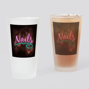 Neon Nails Sign Drinking Glass