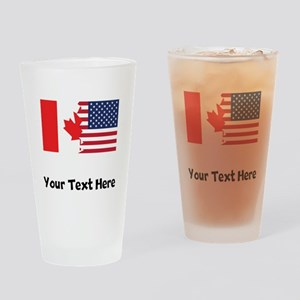 Canadian American Flag Drinking Glass