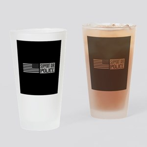 Support Our Police: Black U.S. Flag Drinking Glass
