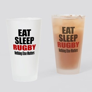 Eat Sleep Rugby Drinking Glass