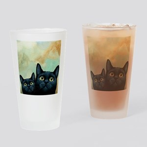 Cat 607 black Cats Drinking Glass