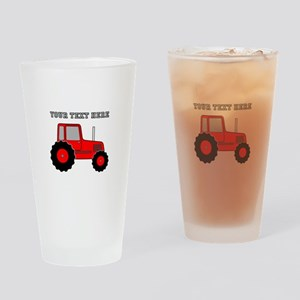 Personalized Red Tractor Drinking Glass