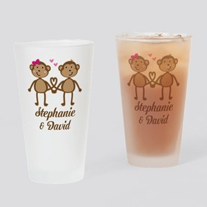 Monkey Couple Personalized Gift Drinking Glass