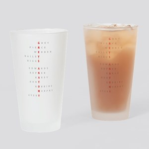 Grey's Horizontal Character Names Drinking Glass