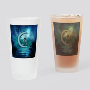 Fairy on a moon over the sea Drinking Glass
