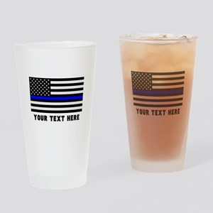 Thin Blue Line Flag Drinking Glass