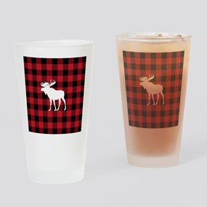 Buffalo Plaid Moose Drinking Glass