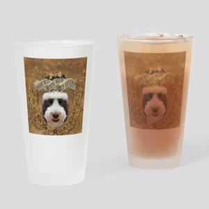 Sniff, Fetch, Sleep Sheepadoodle Drinking Glass