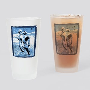 Blue dirt bike wheeling in mu Drinking Glass