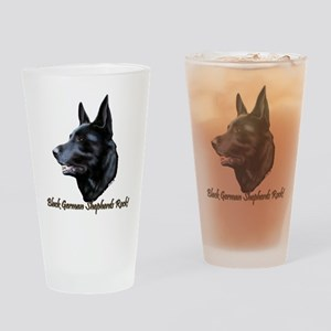 Black German Shepherds Rock Drinking Glass