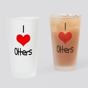 I Love (heart) Otters Pint Glass