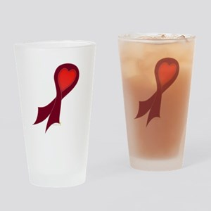 Burgundy Ribbon with Heart Pint Glass