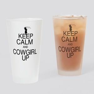 Keep Calm and Cowgirl Up Drinking Glass