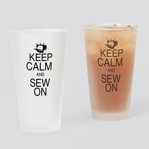 Keep Calm and Sew On Drinking Glass