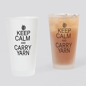 Keep Calm and Carry Yarn Drinking Glass