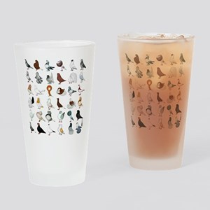 36 Pigeon Breeds Drinking Glass