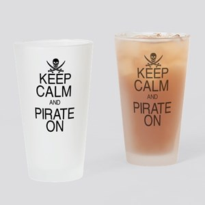 Keep Calm and Pirate On Drinking Glass