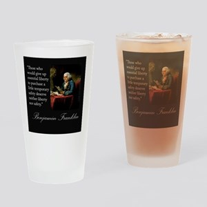 Ben Franklin Quote Portrait Drinking Glass