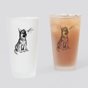 Puppy and Grasshopper Drinking Glass