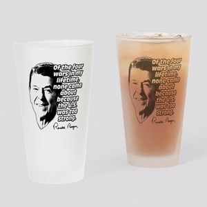 Ronald Reagan Quote Wars Defense Drinking Glass