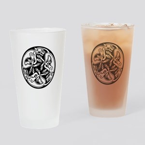 Round Celtic Dogs Drinking Glass