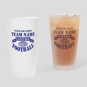 PERSONALIZED FANTASY FOOTBALL NAVY Drinking Glass