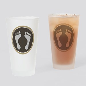 Cute Earthtone Feet Emblem Drinking Glass