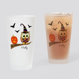 Custom name Halloween owl Drinking Glass