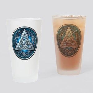 Norse Valknut - Blue Drinking Glass