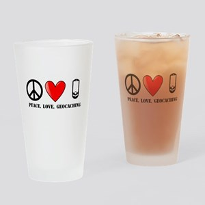Peace, Love, Geocaching Drinking Glass