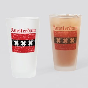 Flag Of Amsterdam Design Drinking Glass