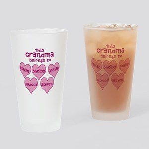 Personalized Grand kids hearts Drinking Glass
